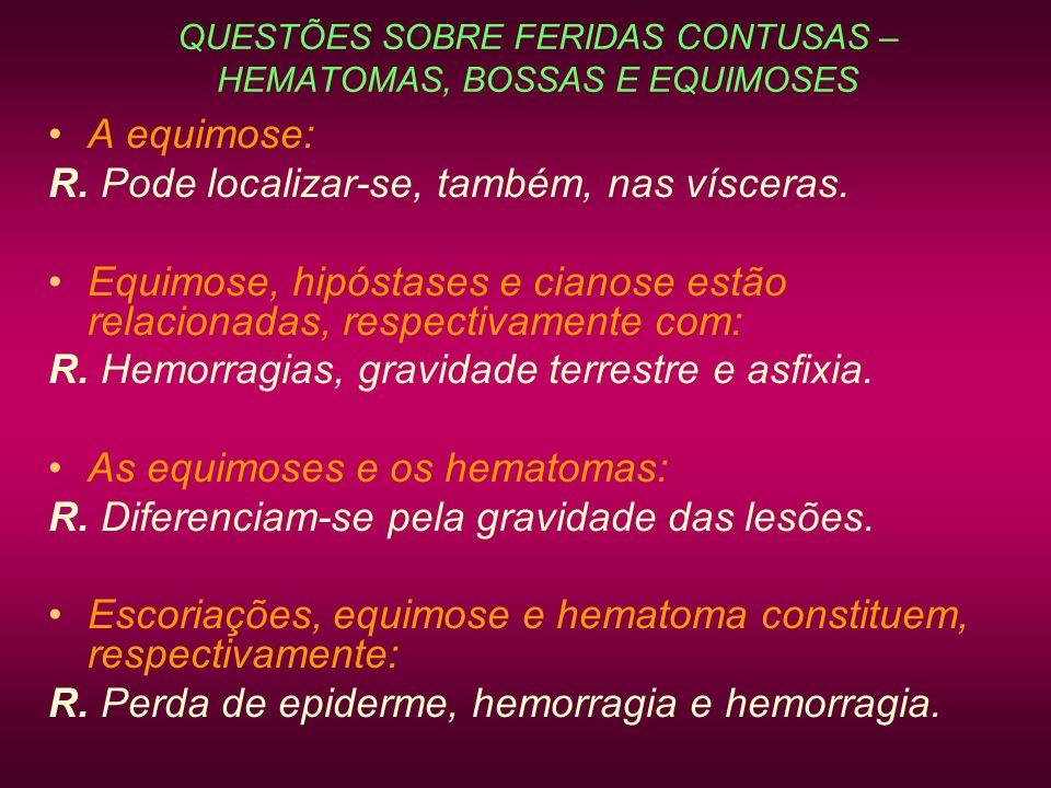 QUESTÕES SOBRE FERIDAS CONTUSAS – HEMATOMAS, BOSSAS E EQUIMOSES