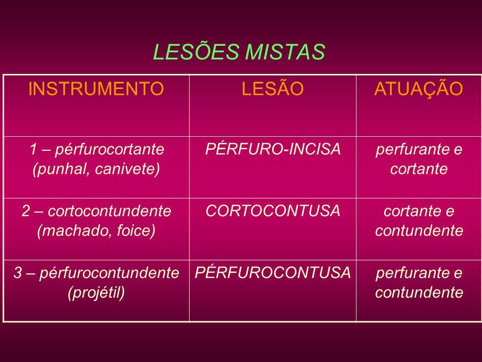 LESÕES MISTAS INSTRUMENTO LESÃO ATUAÇÃO