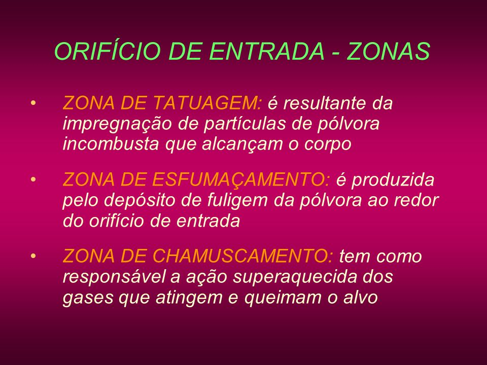 ORIFÍCIO DE ENTRADA - ZONAS