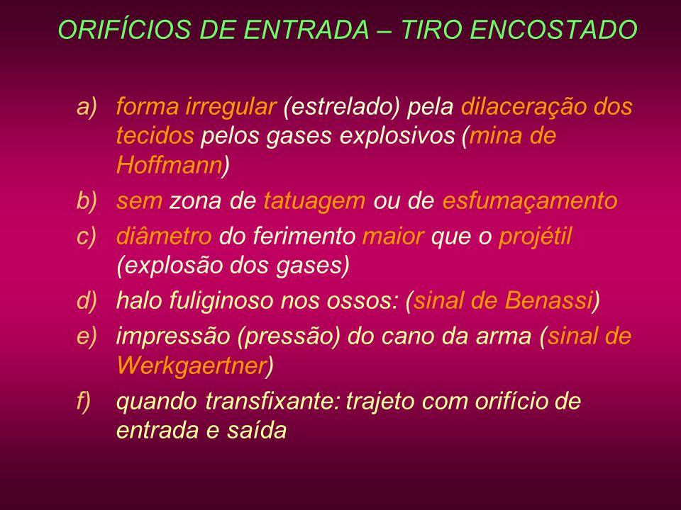ORIFÍCIOS DE ENTRADA – TIRO ENCOSTADO