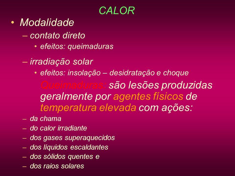 CALOR Modalidade contato direto irradiação solar efeitos: queimaduras