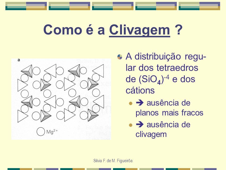Como é a Clivagem A distribuição regu-lar dos tetraedros de (SiO4)-4 e dos cátions.  ausência de planos mais fracos.