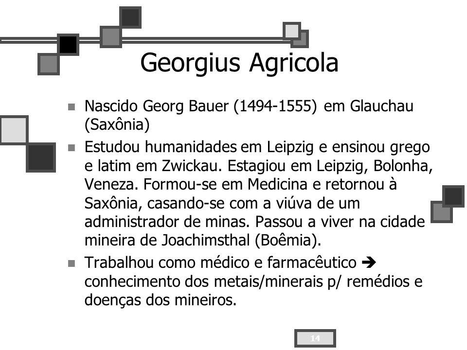 Georgius AgricolaNascido Georg Bauer (1494-1555) em Glauchau (Saxônia)