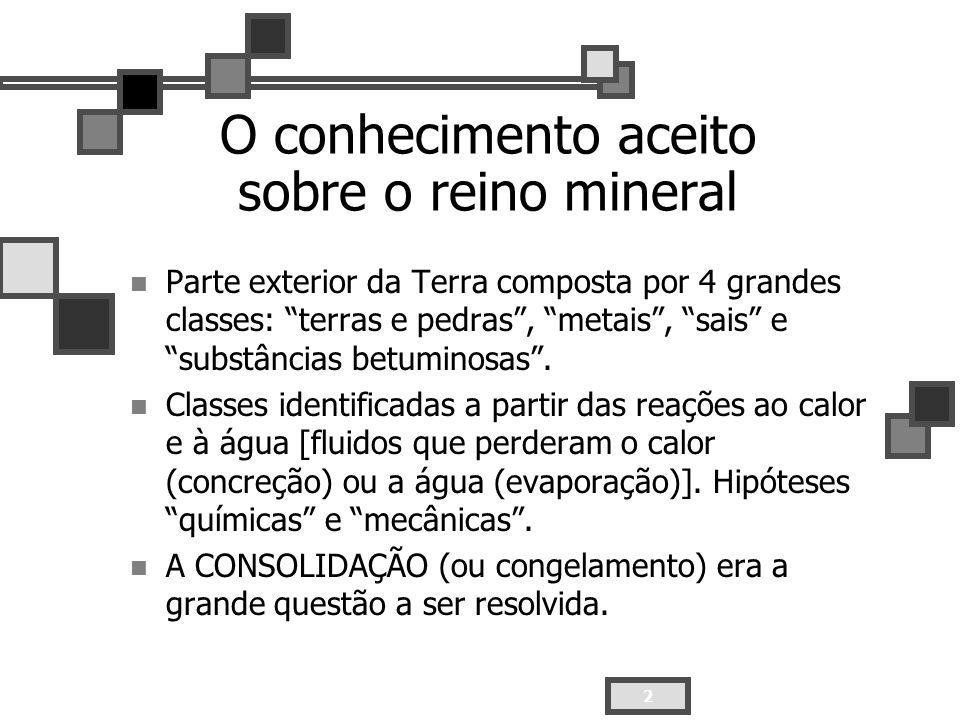 O conhecimento aceito sobre o reino mineral