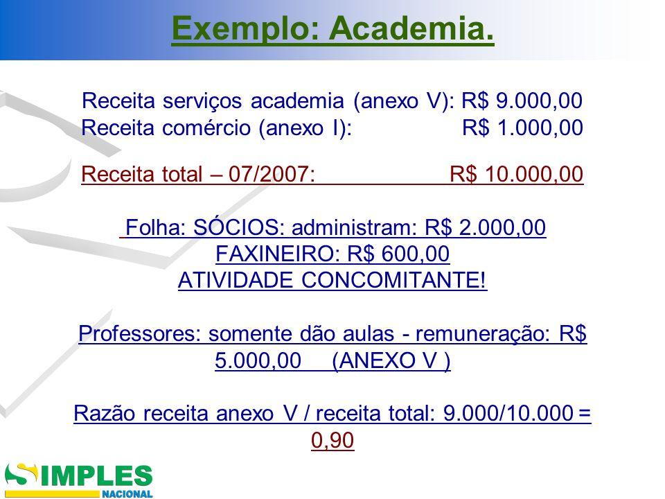 Exemplo: Academia.