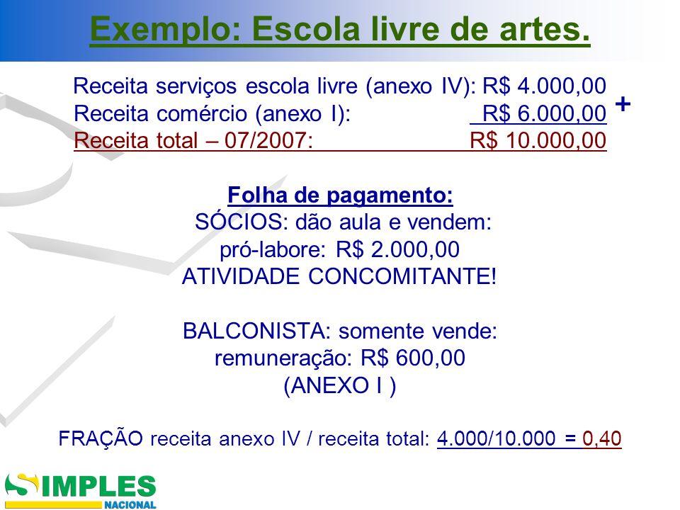 Exemplo: Escola livre de artes.