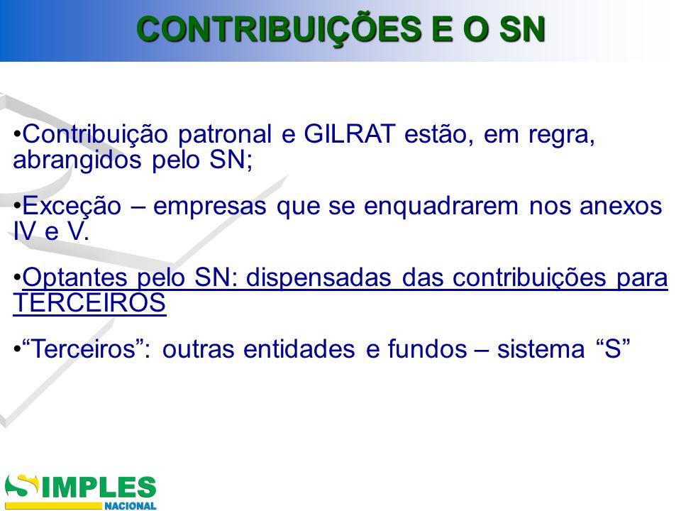 CONTRIBUIÇÕES E O SN Contribuição patronal e GILRAT estão, em regra, abrangidos pelo SN; Exceção – empresas que se enquadrarem nos anexos IV e V.