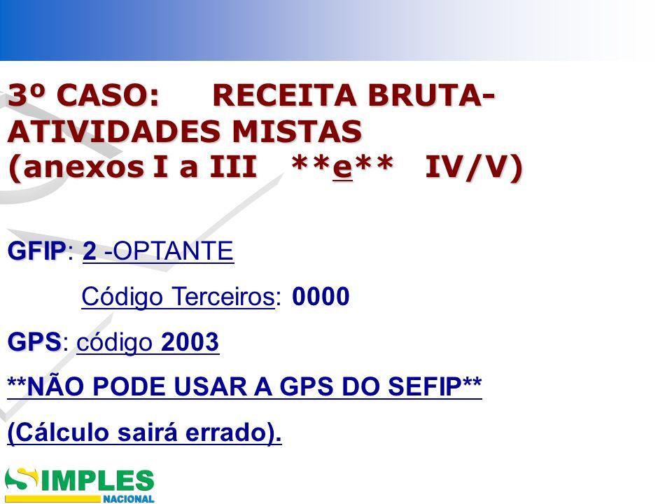 3º CASO: RECEITA BRUTA-ATIVIDADES MISTAS (anexos I a III **e** IV/V)