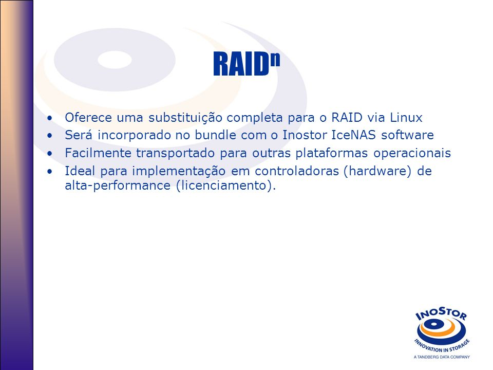 RAIDn Oferece uma substituição completa para o RAID via Linux
