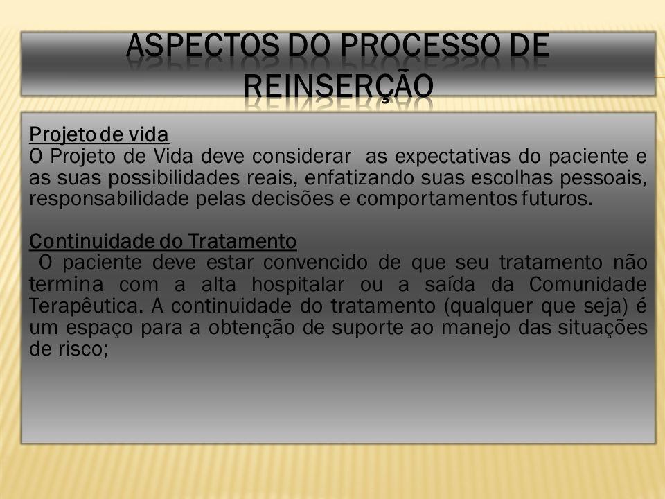 ASPECTOS DO PROCESSO DE REINSERÇÃO