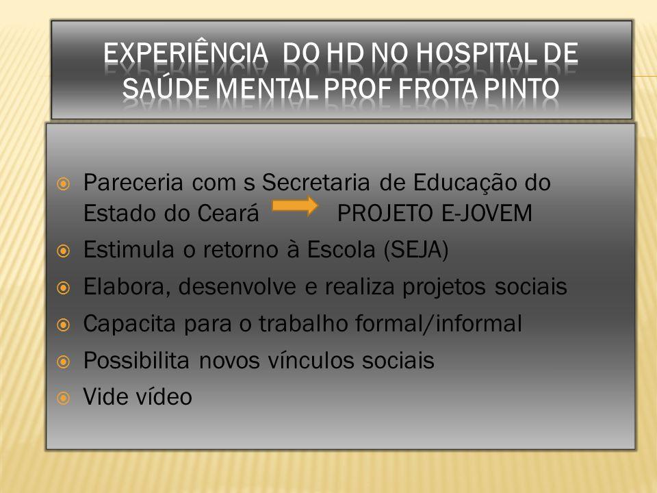 EXPERIÊNCIA DO HD NO HOSPITAL DE SAÚDE MENTAL PROF FROTA PINTO