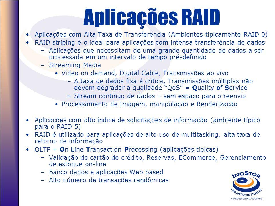 Aplicações RAIDAplicações com Alta Taxa de Transferência (Ambientes tipicamente RAID 0)