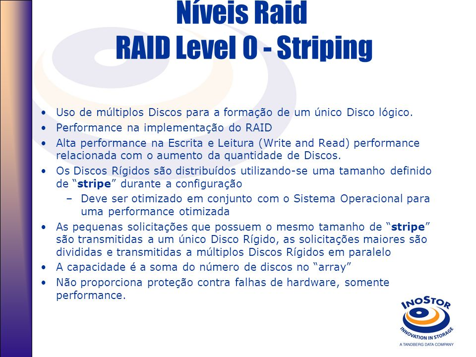 Níveis Raid RAID Level 0 - Striping