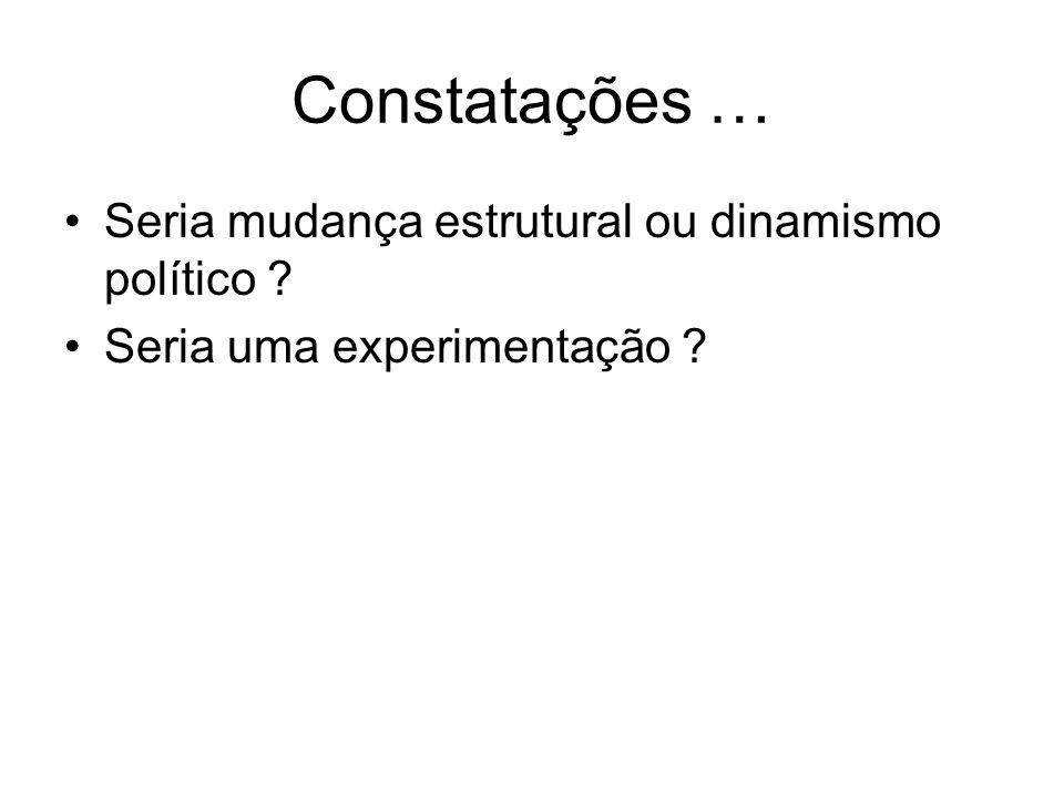 Constatações … Seria mudança estrutural ou dinamismo político