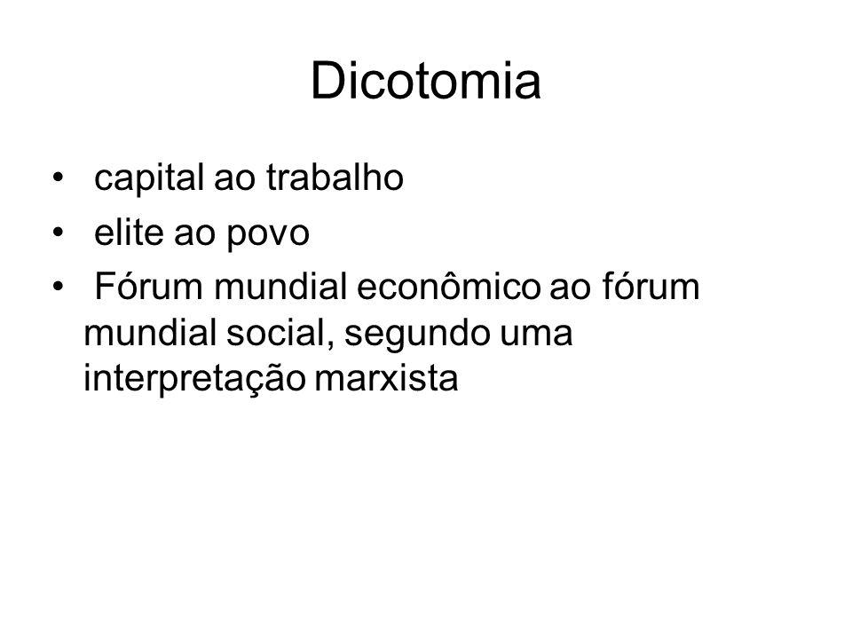 Dicotomia capital ao trabalho elite ao povo