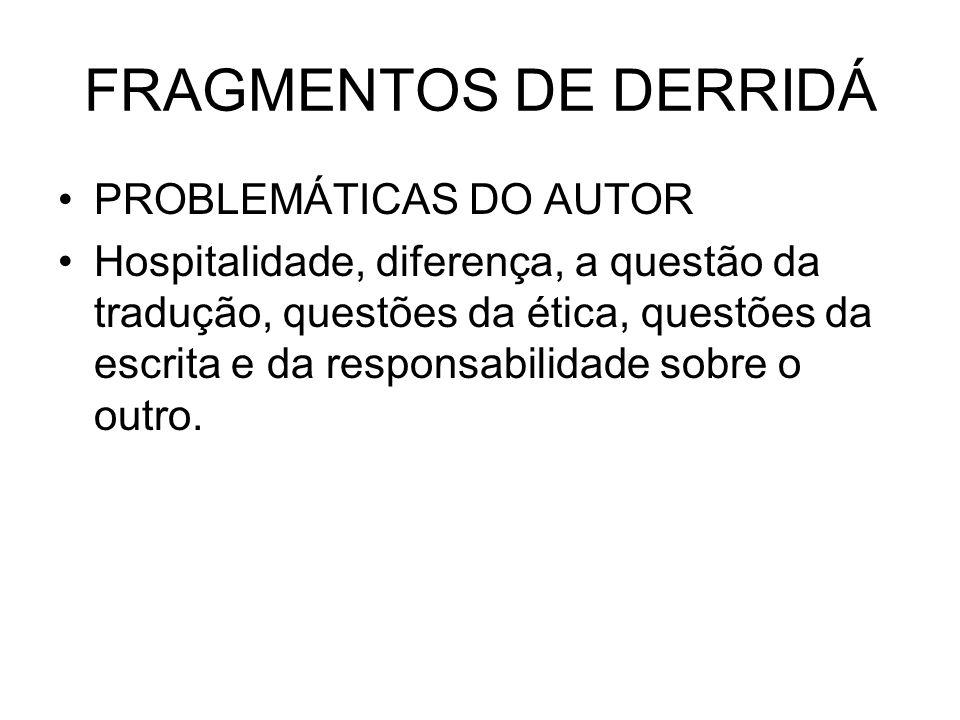FRAGMENTOS DE DERRIDÁ PROBLEMÁTICAS DO AUTOR
