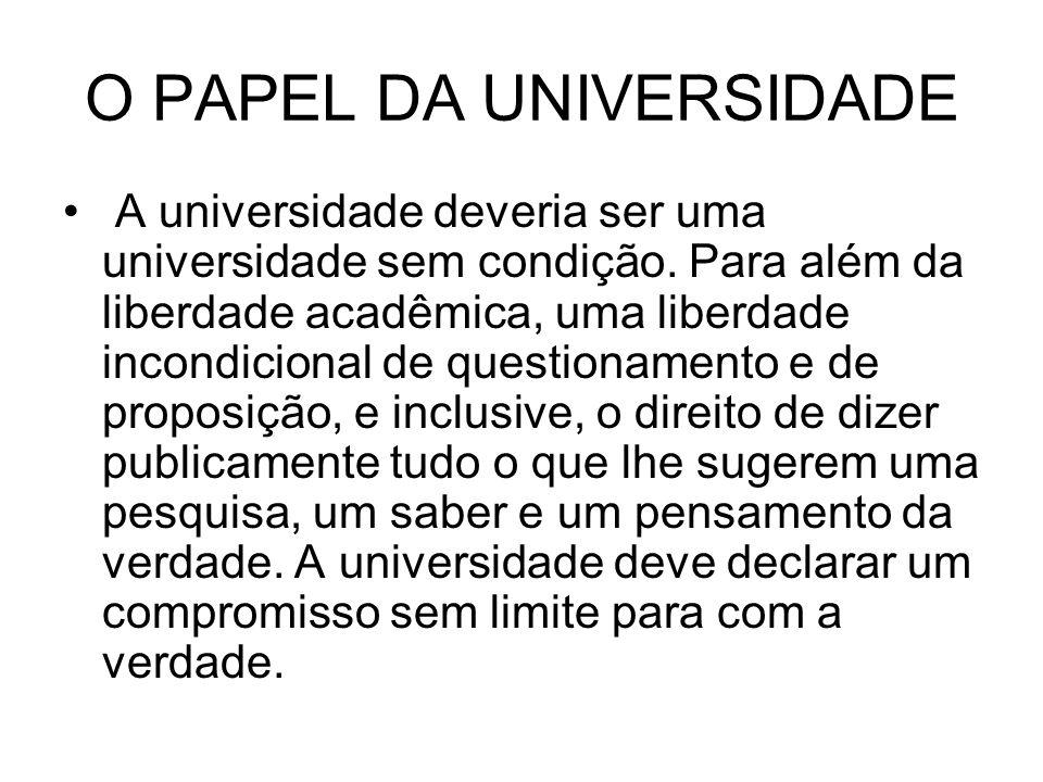 O PAPEL DA UNIVERSIDADE