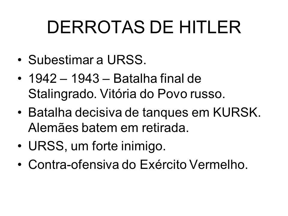 DERROTAS DE HITLER Subestimar a URSS.