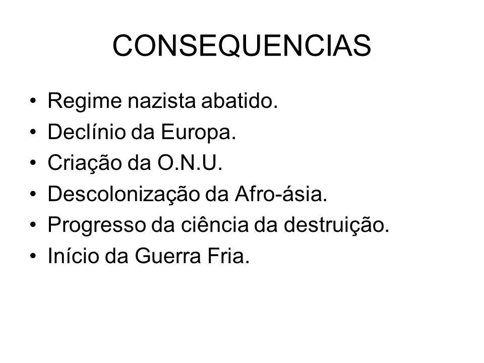 CONSEQUENCIAS Regime nazista abatido. Declínio da Europa.