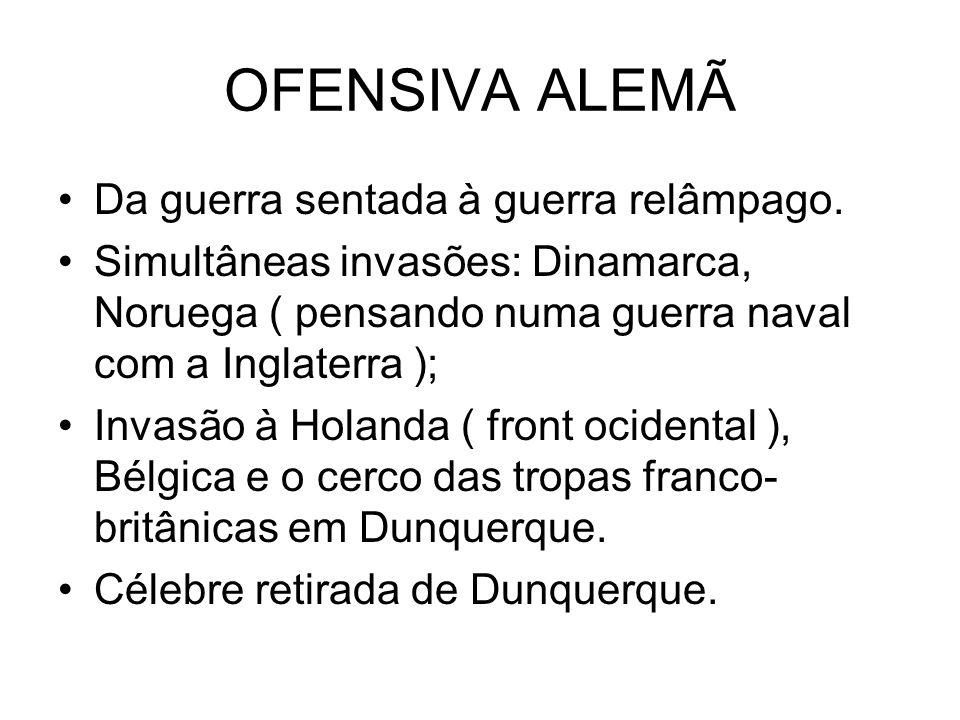 OFENSIVA ALEMÃ Da guerra sentada à guerra relâmpago.