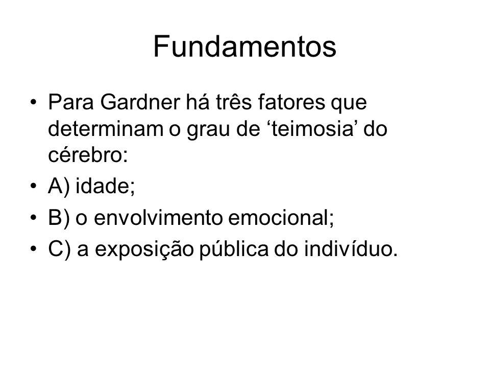 Fundamentos Para Gardner há três fatores que determinam o grau de 'teimosia' do cérebro: A) idade;