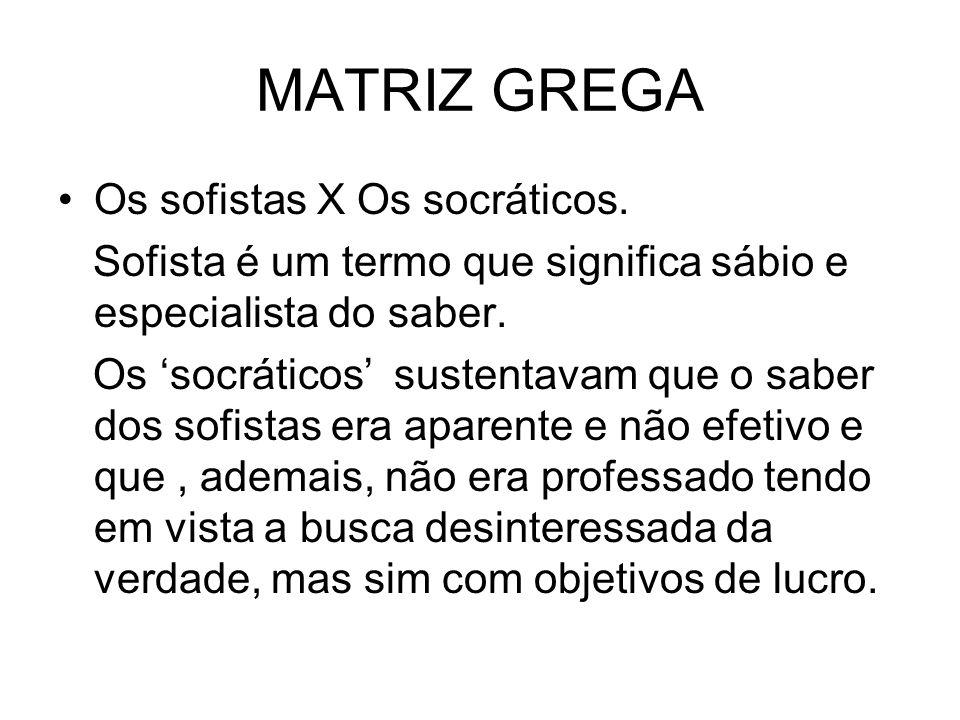 MATRIZ GREGA Os sofistas X Os socráticos.