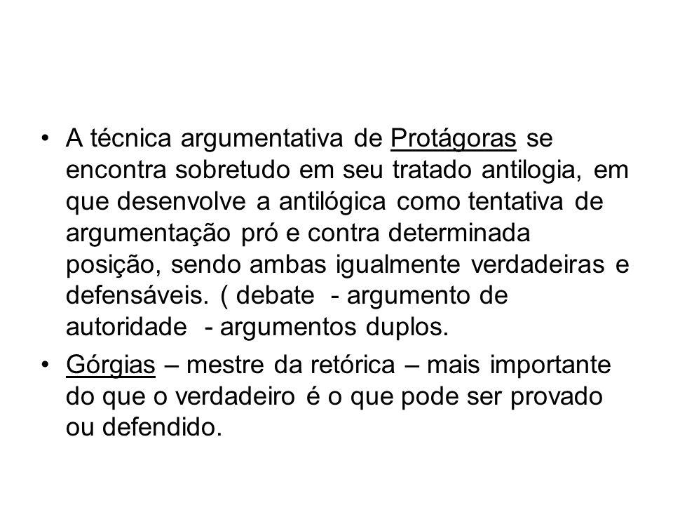 A técnica argumentativa de Protágoras se encontra sobretudo em seu tratado antilogia, em que desenvolve a antilógica como tentativa de argumentação pró e contra determinada posição, sendo ambas igualmente verdadeiras e defensáveis. ( debate - argumento de autoridade - argumentos duplos.
