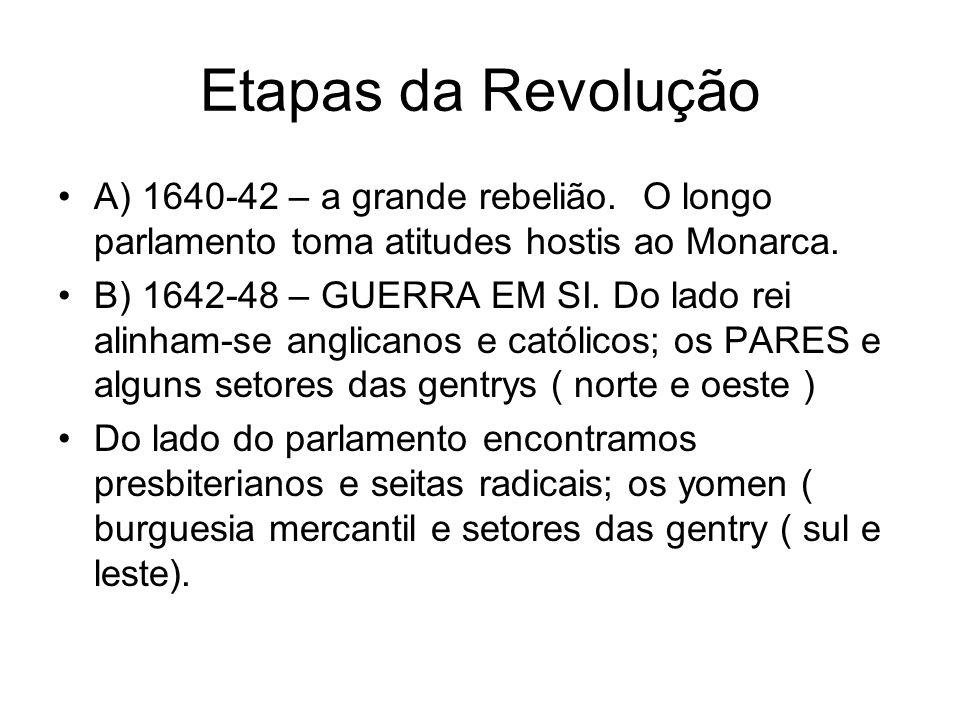 Etapas da Revolução A) 1640-42 – a grande rebelião. O longo parlamento toma atitudes hostis ao Monarca.