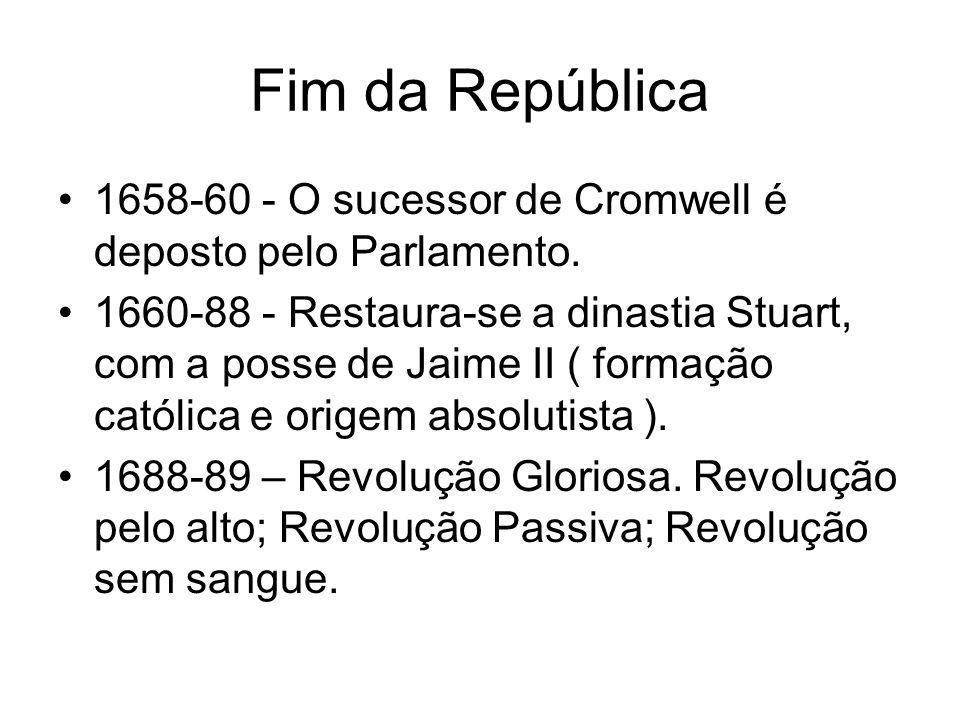 Fim da República 1658-60 - O sucessor de Cromwell é deposto pelo Parlamento.