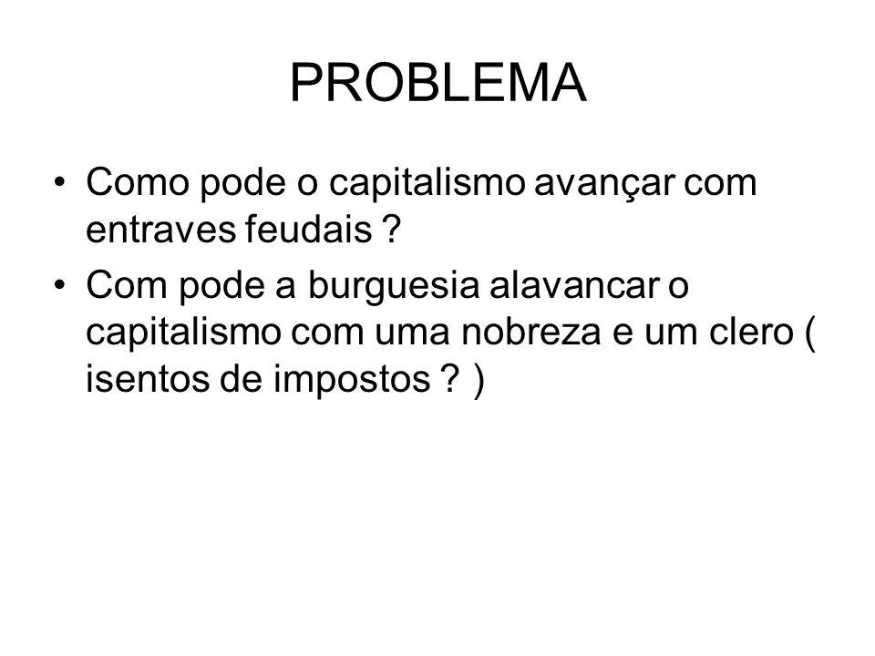 PROBLEMA Como pode o capitalismo avançar com entraves feudais
