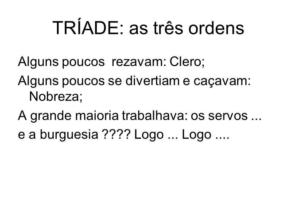 TRÍADE: as três ordens Alguns poucos rezavam: Clero;