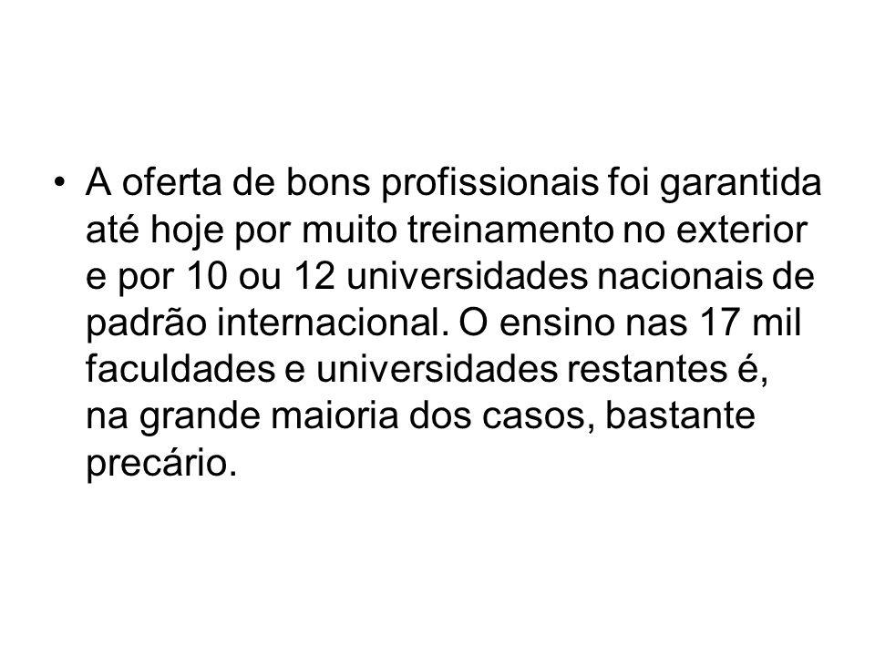 A oferta de bons profissionais foi garantida até hoje por muito treinamento no exterior e por 10 ou 12 universidades nacionais de padrão internacional.
