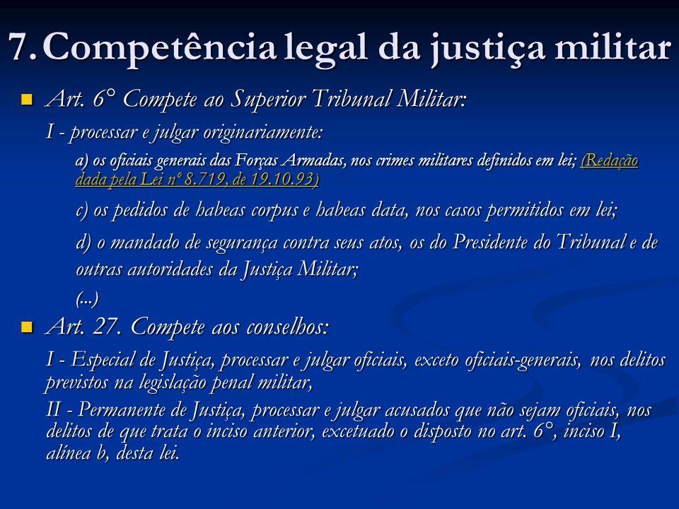 7. Competência legal da justiça militar