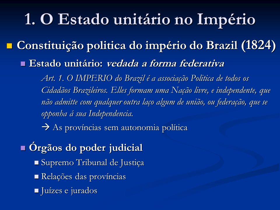 1. O Estado unitário no Império