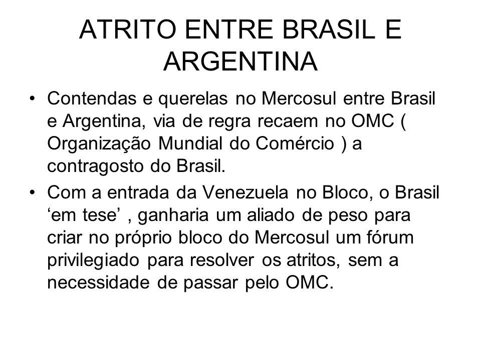 ATRITO ENTRE BRASIL E ARGENTINA