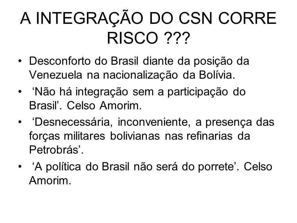 A INTEGRAÇÃO DO CSN CORRE RISCO