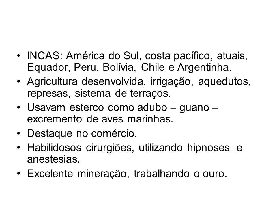 INCAS: América do Sul, costa pacífico, atuais, Equador, Peru, Bolívia, Chile e Argentinha.