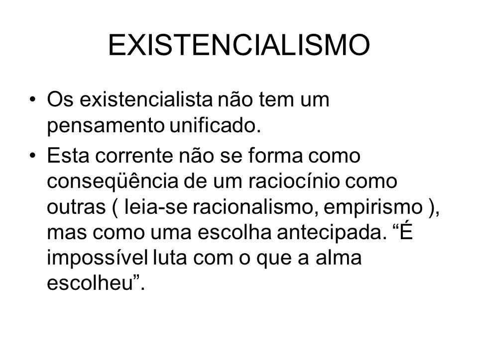 EXISTENCIALISMO Os existencialista não tem um pensamento unificado.