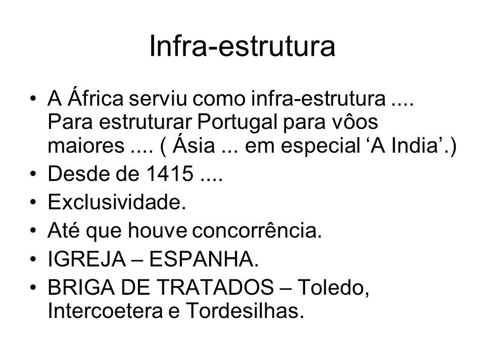 Infra-estrutura A África serviu como infra-estrutura .... Para estruturar Portugal para vôos maiores .... ( Ásia ... em especial 'A India'.)