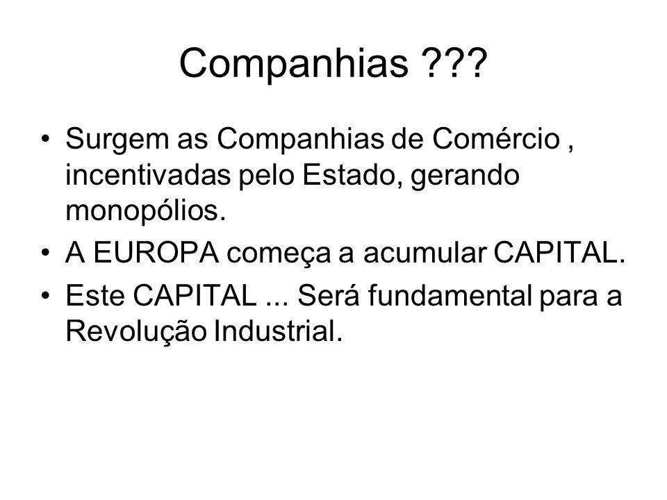 Companhias Surgem as Companhias de Comércio , incentivadas pelo Estado, gerando monopólios. A EUROPA começa a acumular CAPITAL.
