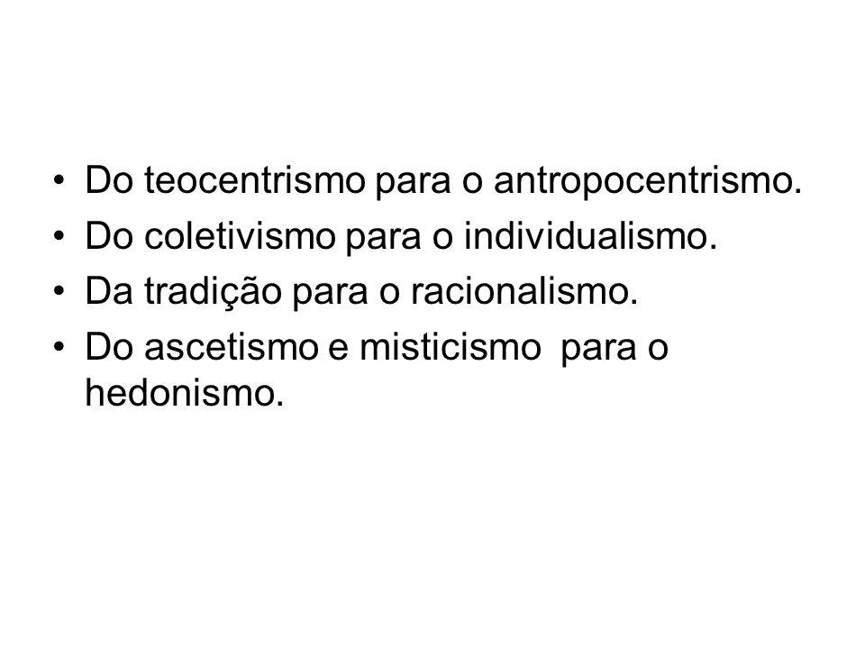 Do teocentrismo para o antropocentrismo.