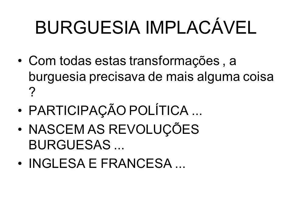 BURGUESIA IMPLACÁVEL Com todas estas transformações , a burguesia precisava de mais alguma coisa PARTICIPAÇÃO POLÍTICA ...