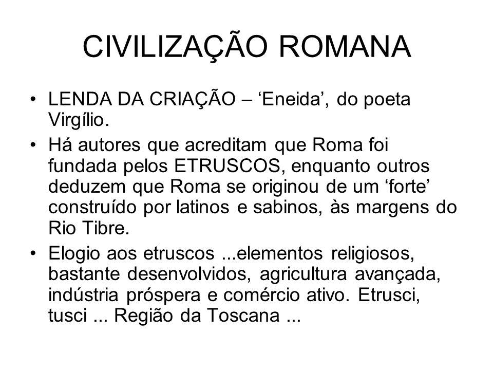 CIVILIZAÇÃO ROMANA LENDA DA CRIAÇÃO – 'Eneida', do poeta Virgílio.