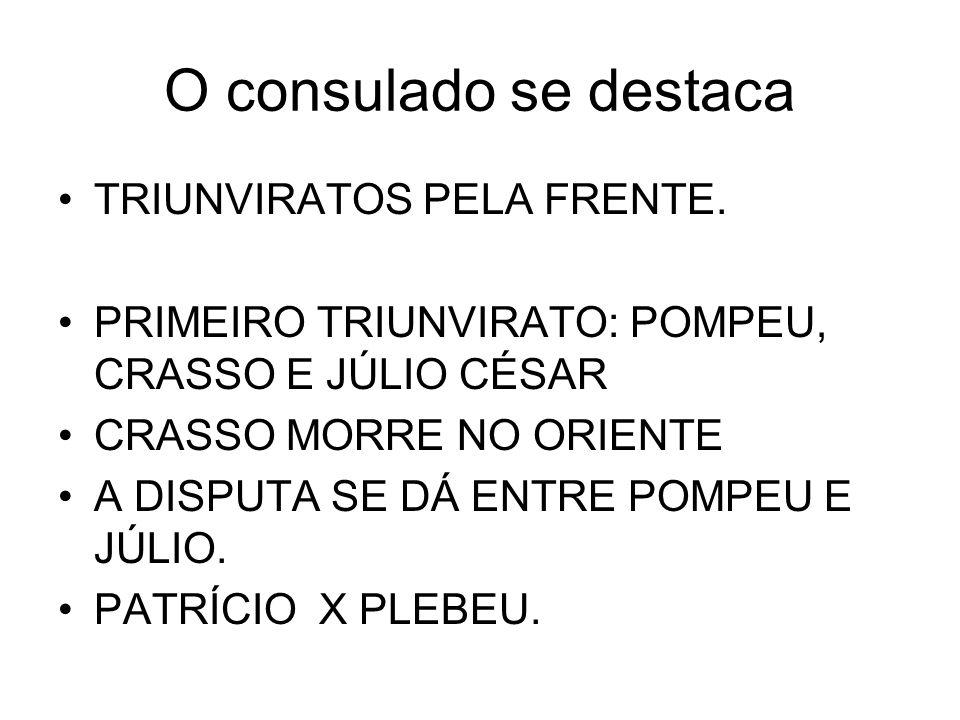 O consulado se destaca TRIUNVIRATOS PELA FRENTE.