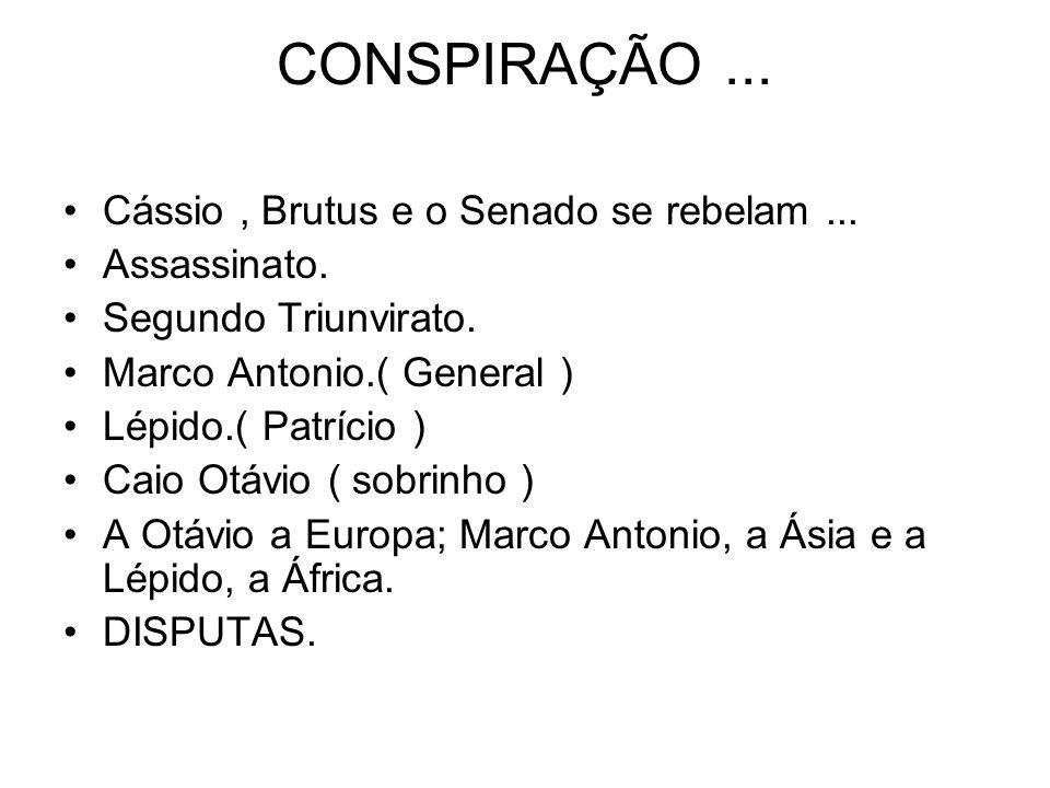 CONSPIRAÇÃO ... Cássio , Brutus e o Senado se rebelam ... Assassinato.