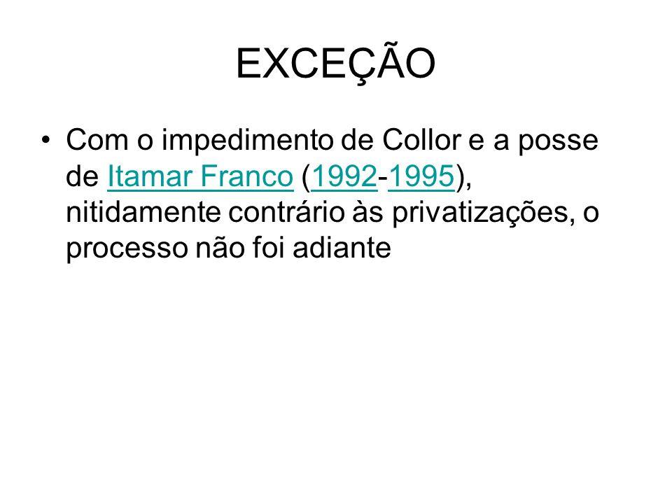 EXCEÇÃOCom o impedimento de Collor e a posse de Itamar Franco (1992-1995), nitidamente contrário às privatizações, o processo não foi adiante.
