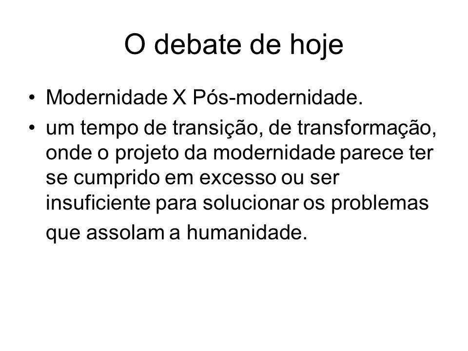 O debate de hoje Modernidade X Pós-modernidade.