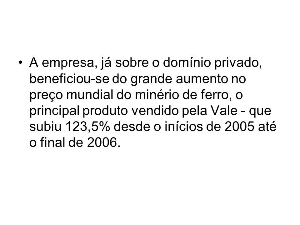 A empresa, já sobre o domínio privado, beneficiou-se do grande aumento no preço mundial do minério de ferro, o principal produto vendido pela Vale - que subiu 123,5% desde o inícios de 2005 até o final de 2006.