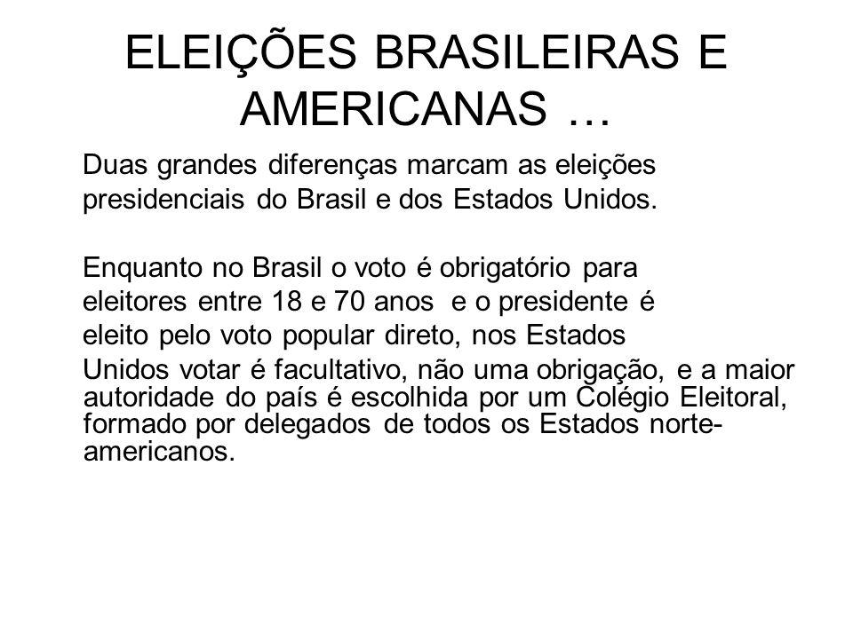ELEIÇÕES BRASILEIRAS E AMERICANAS …