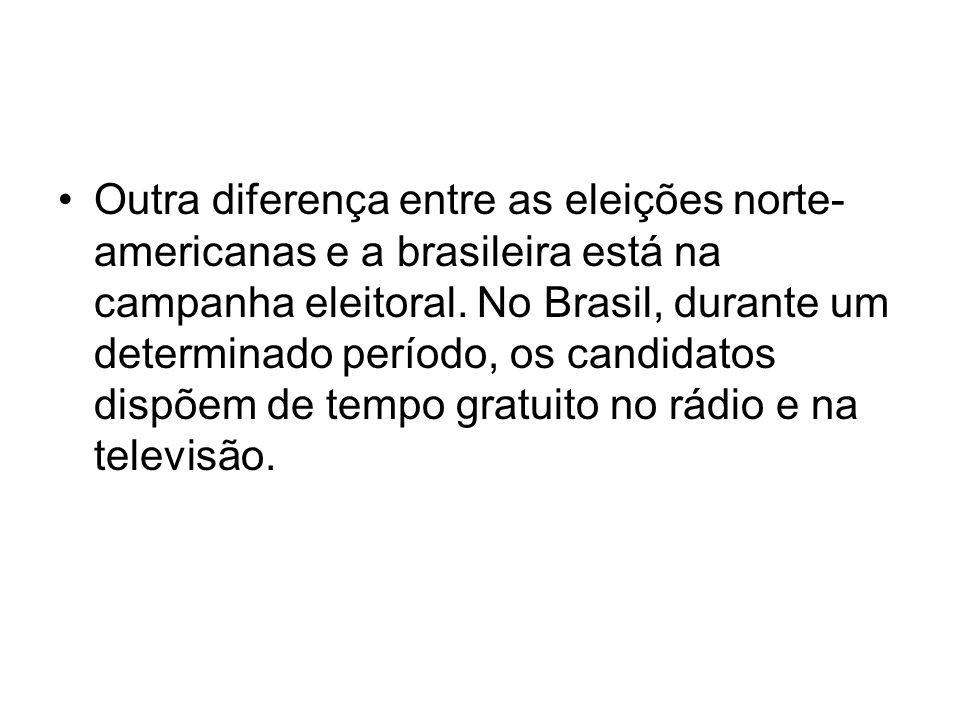 Outra diferença entre as eleições norte-americanas e a brasileira está na campanha eleitoral.